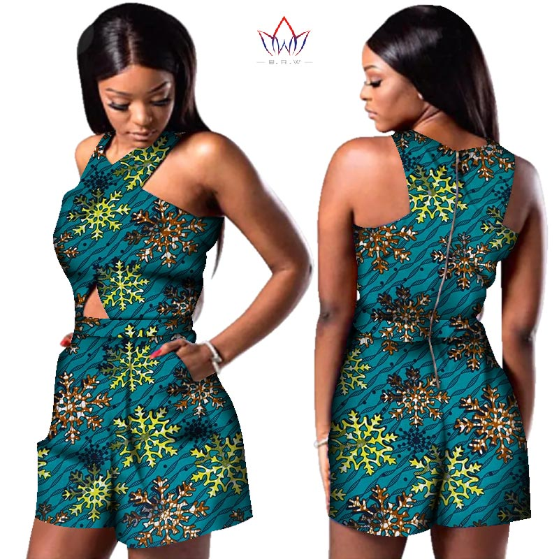 Bazin African Wax Print Dashiki Jumpsuit Plus Size Sleeveless Romper Jumpsuit Cloak Playsuit African Clothes for Women WY3249