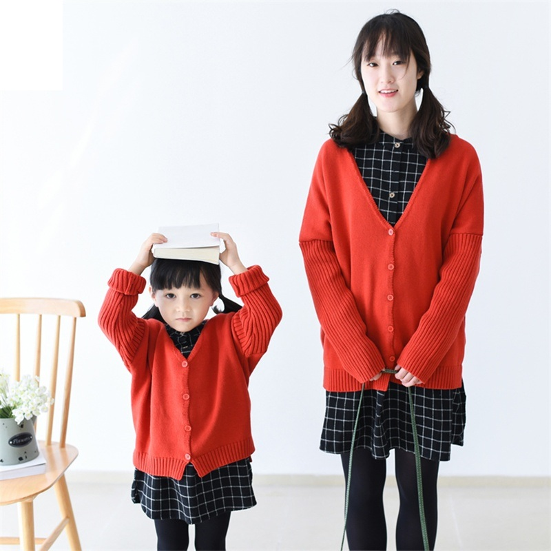 ФОТО 2017 Autumn Winter cotton long sleeves girl mom women children sweater family look matching clothes mother and daughter sweaters