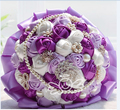 2017 New Cheap Wedding/Bridesmaid Bouquet Purple&Ivory Bridal Handmade Artificial Rose Bouquet de mariage ramo de la boda