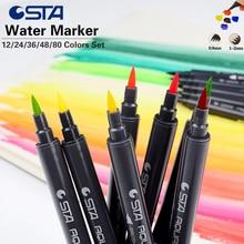 12/24/36/48/80 D'eau Couleurs Doux Double Tête Sketch Marker Eau Brosse Designers Marqueur stylo Couleurs Ensemble Copic Art Marqueur