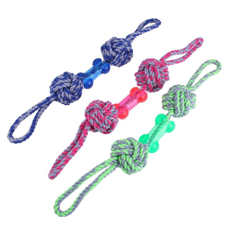 52CM Pet Dog Toys Molar Tooth Cleaning Resistance To Bite Pet Toys Training Game And Chew Cotton Rope 3 Color For Puppy