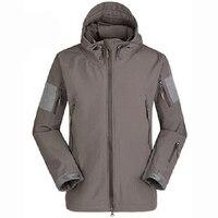 JHO Men Outdoor Jacket Waterproof Coat Shark Skin Soft Shell Hoodie Hunting Duty
