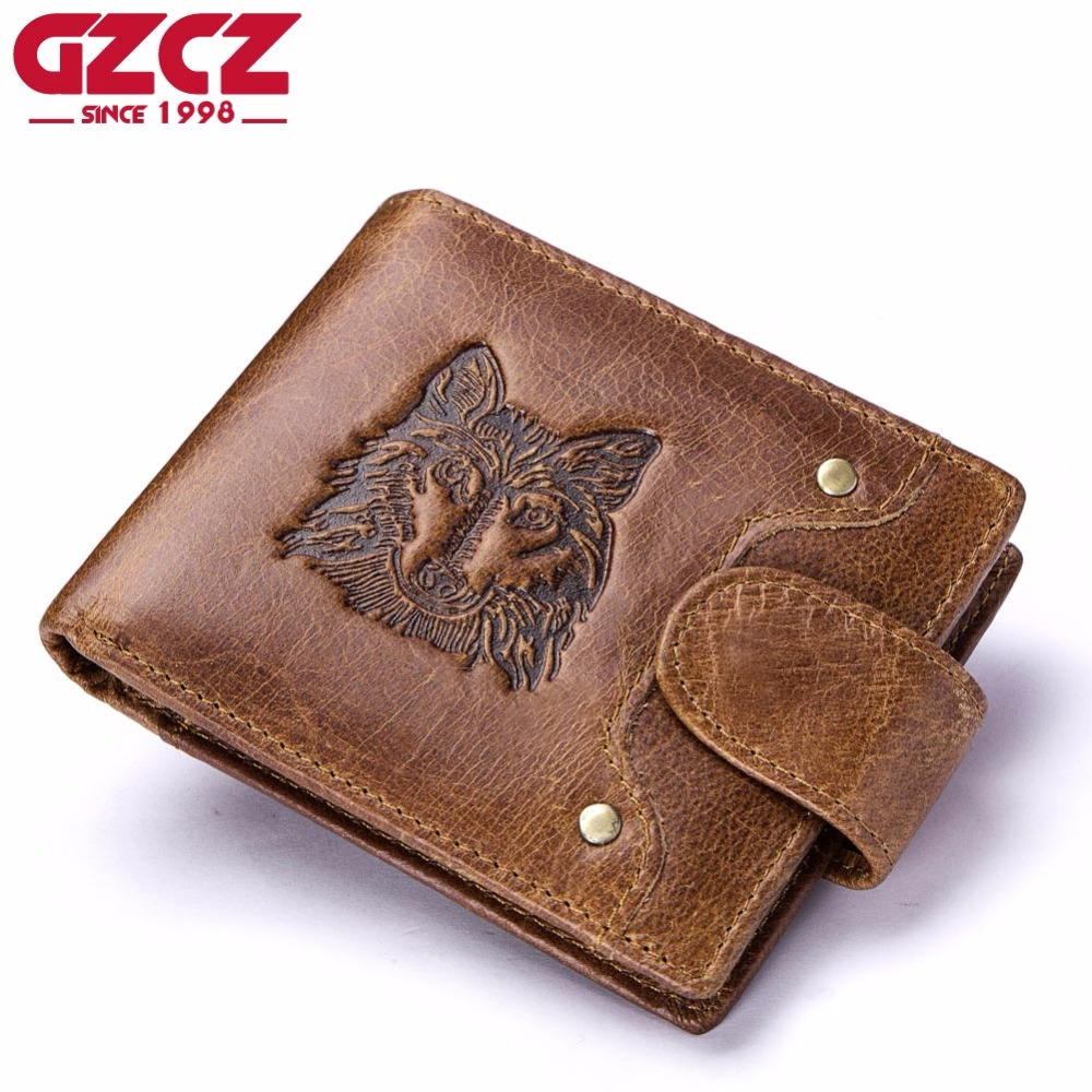 GZCZ Genuine Leather Men Wallets Coin Pocket Zipper Men's Fashion Wallet with Coin High Quality Male Purse Cartera Portomonee