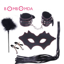 5 PCS Restraint Set  Handcuffs Feather Whip Nipple Clamps Blinder Bondage Restraint Outfit