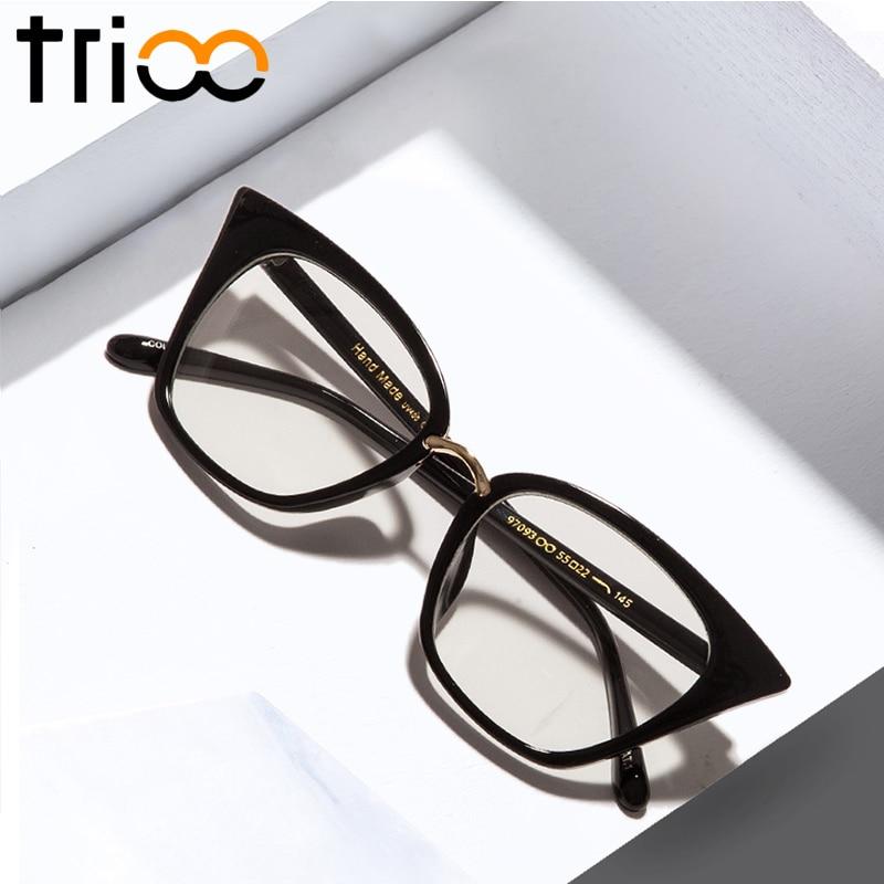 TRIOO New Black Cat Eye Women Կանանց ակնոցներ Մաքուր ոսպնյակների սպեկտրով Նորաձևություն Կանացի արևի ակնոցներ օպտիկական ակնոց թափանցիկ