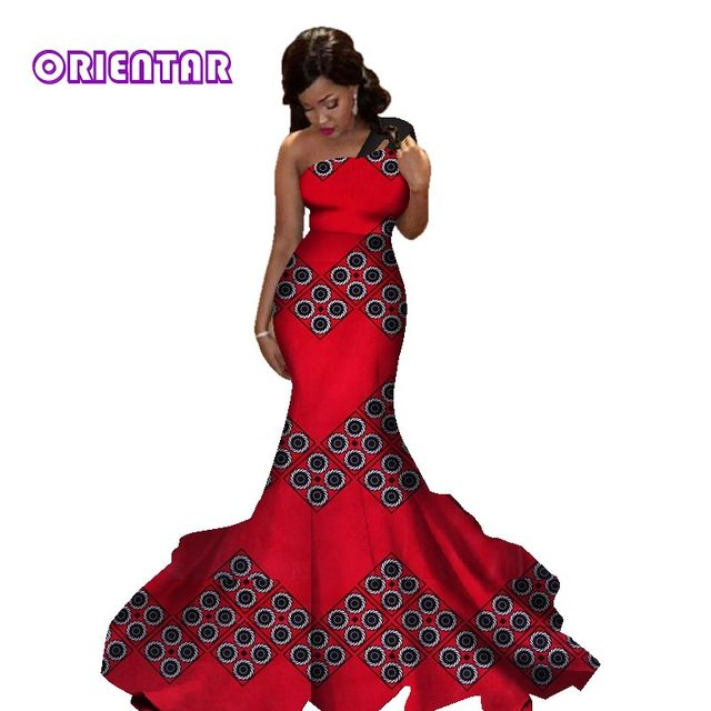 African dresses for women new african printed cotton material women party dresses african women long wedding dress WY2829