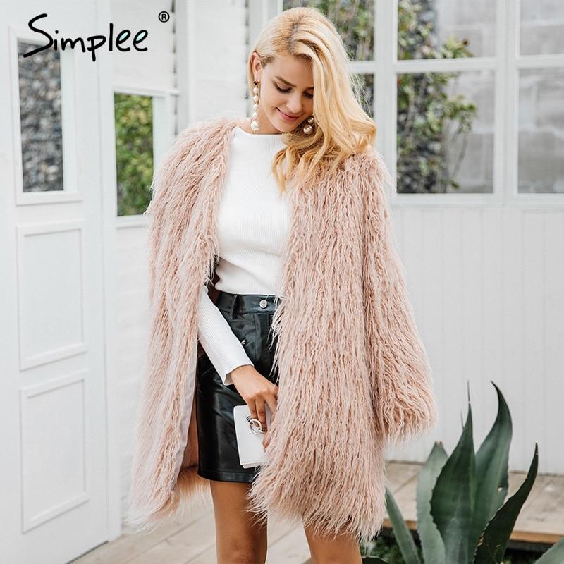 Simplee Пышное длинное пальто с искусственным мехом женские зимние из искусственного меха уличная розовое пальто женские Модные Цветные Мехов...
