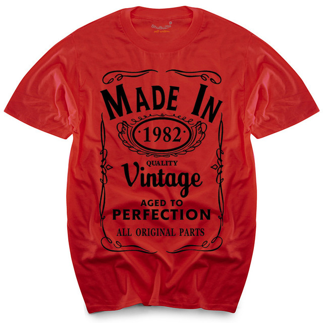 Made In 1982 T Shirt Born 34th Year Birthday Age Present Vintage Funny Mens Gift Top Tees