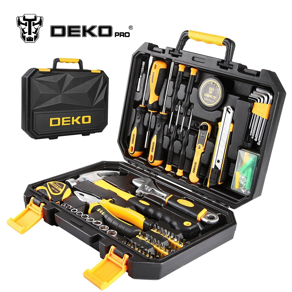 DEKOPRO TZ100 Socket Wrench Tool Set Auto Repair Mixed Tool Combination Package Hand Tool Kit with Plastic Toolbox Storage Case