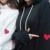 Coréia Compras primavera outono mulheres Harajuku Vento Faculdade lazer do alfabeto padrão bordado amantes moletom com capuz