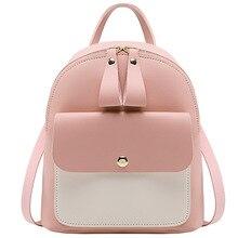 Backpack Women Mini Bag PU Leather High Quality Zipper Water