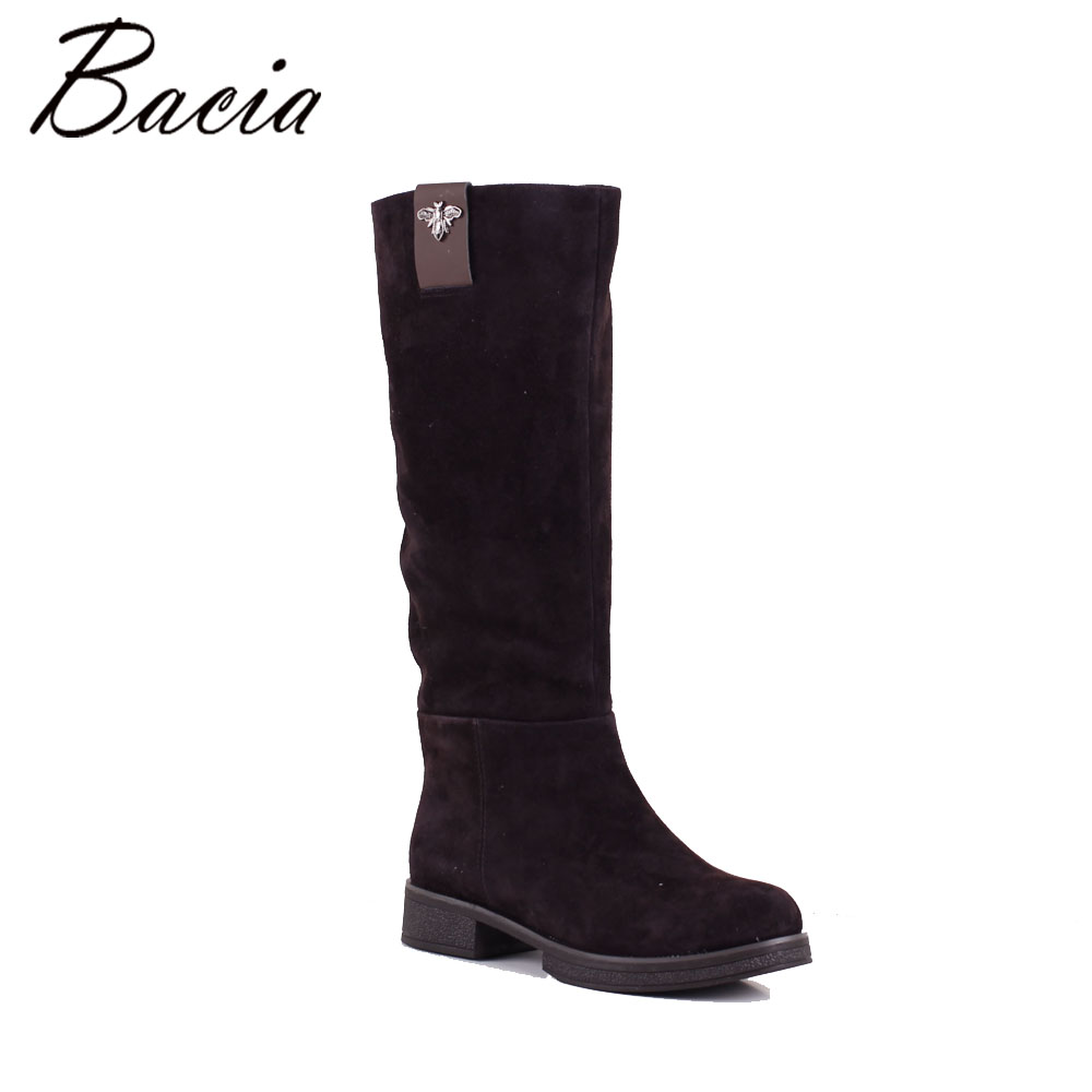 Bacia knee-high Genuine leather boots women Sheep suede Winter shoes Warm wool fur woman Brown Boots Zip 3-40 High quality SB058 pritivimin fn81 winter warm women real wool fur lined shoes ladies genuine leather high boot girl fashion over the knee boots