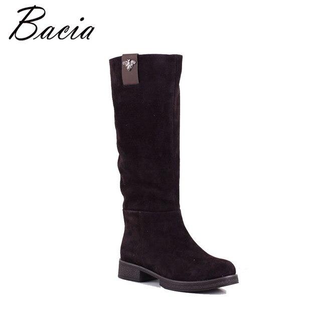 Bacia/гольфы из натуральной Кожаные Ботинки женские из овечьей замши зимняя обувь теплая шерсть меховые женские коричневые сапоги zip 3-40 высокое качество sb058