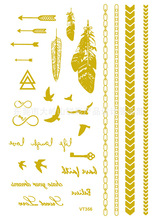 Waterproof Body Art Painting Watch Tattoo Stickers Metal Gold Silver Temporary Flash Tattoo Women And Men Bracelet Tattoos VT356