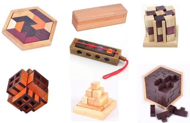 7PCS/Set Classic 3D Wooden Puzzle Game IQ Mind Brain Teaser Puzzles Toy for Adults Children