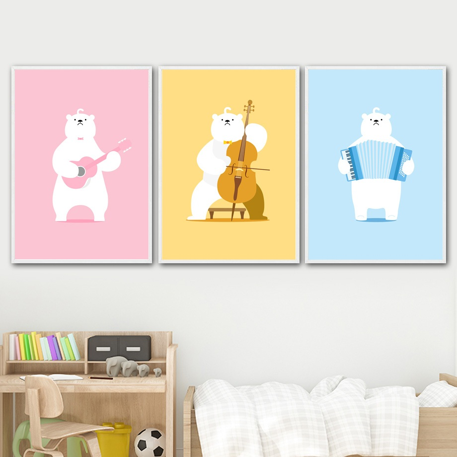 Cartoon Polar Bear Guitar Cello Musical Wall Art Print Canvas ...