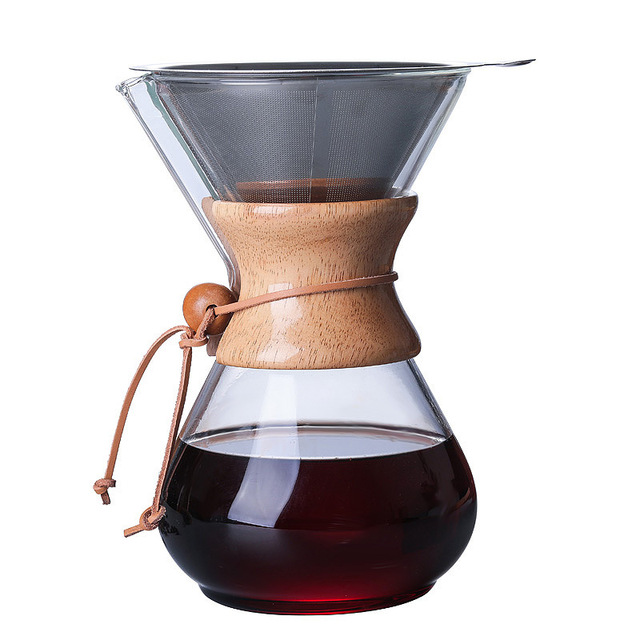1PC 1000ml Coffee Pots Heat Resistant Glass Coffee Pot Brewer 3Cups Counted Chemex Hot Brewer Coffee Pot Barista Percolator 1