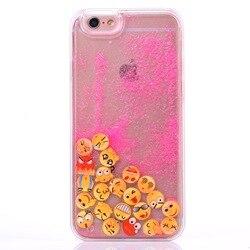 Pour iPhone X Cas Mignon Lumineux Sourire Visage Emoji Glitter Quicksand Capa Cover pour iPhone 6 6 s 7 8 plus Cas X 5S 5 SE Cas Coque