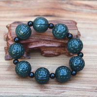 18mm 100% Natural Dark Green HETIAN Qing Stone Bracelets Round Beads King kong Bracelets Bangles Gift for Men's Jades Jewelry