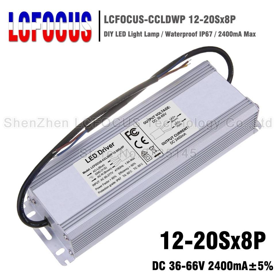 Conducteur 12-20sx8p de LED de la puissance élevée 96 W 120 W 136 W 160 W étanche 2400mA 36-66 V 2.4A pour l'alimentation d'énergie de transformateurs d'éclairage de puce d'épi