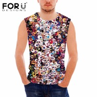 FORUDESIGNS Punk Skulls Printing Men Tank Tops Summer Style Sleeveless Tops For Male Casual Teenager Boys
