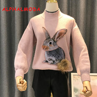 ALPHALMODA 2018 New Cartoon Sweater Women Winter Fashion Beading Rabbit Fur Tail Ladies Casual Pull Hiver Femme 2018