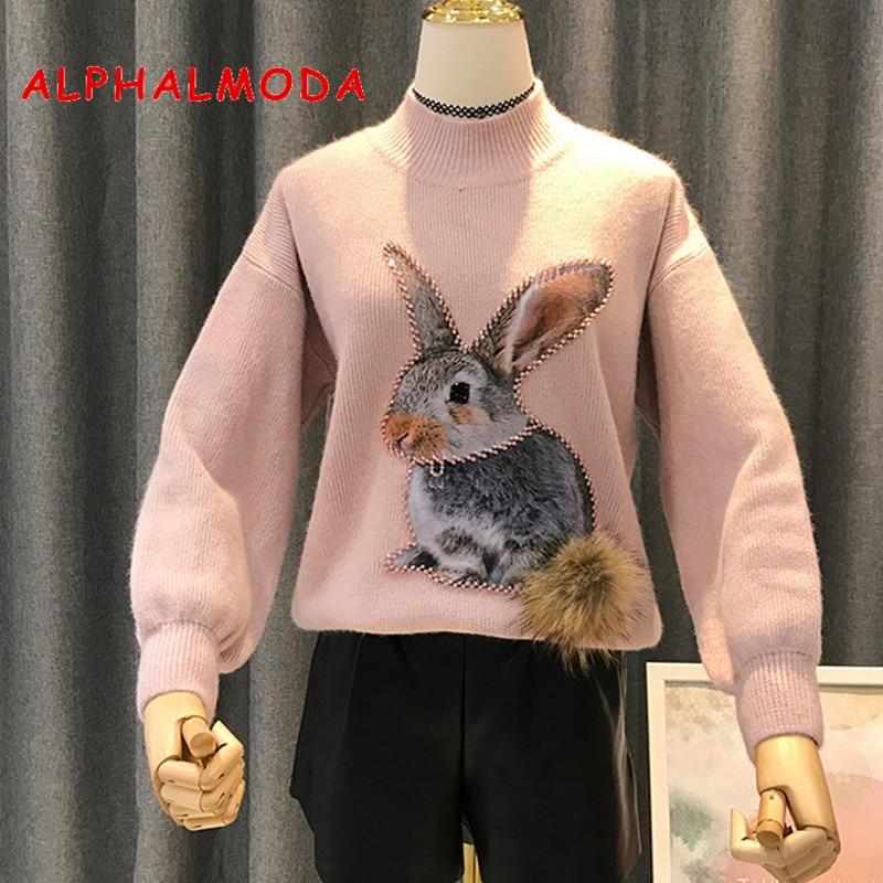 ALPHALMODA 2018 New Cartoon Sweater Women Winter Fashion Beading Rabbit Fur Tail Ladies Casual Pull Hiver Femme 2018