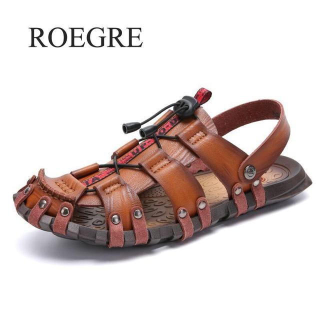 Mens סנדלי קיץ 2019 אמיתי עור חוף סנדלי גברים נעלי Schuhe Herren Sandalet Zapatos Hombre Sandalias גברים סנדלי גבר