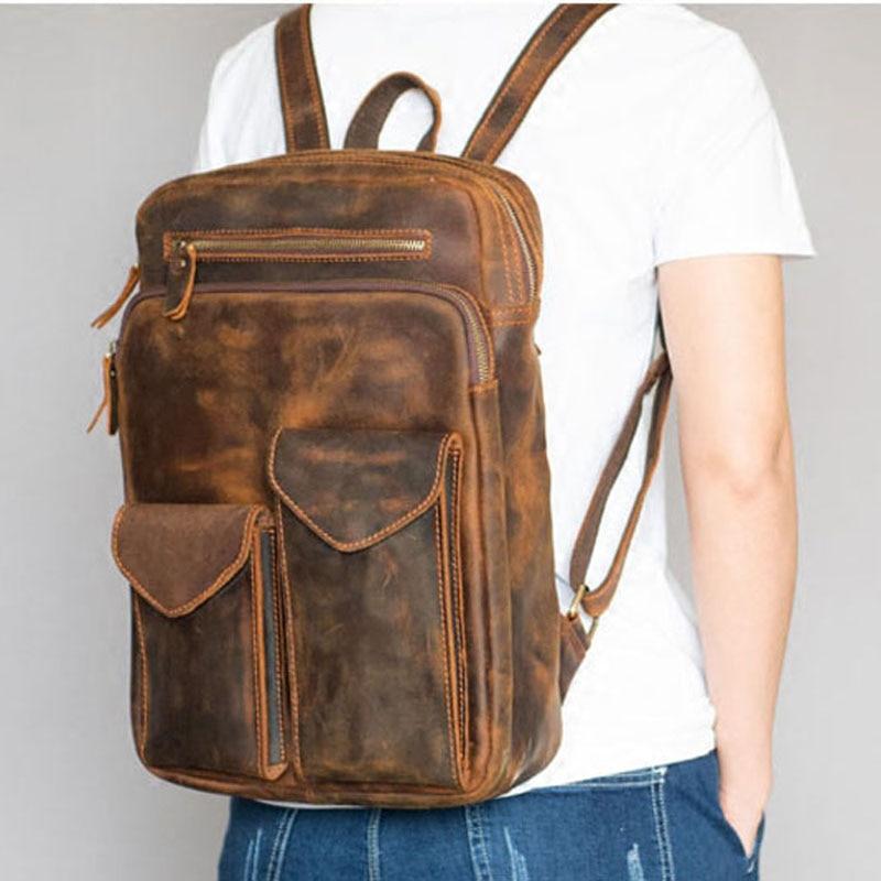 Высококачественная прочная мужская сумка на плечо из натуральной кожи Horse Oli, водонепроницаемый рюкзак для путешествий, кожаная сумка кремо... - 2