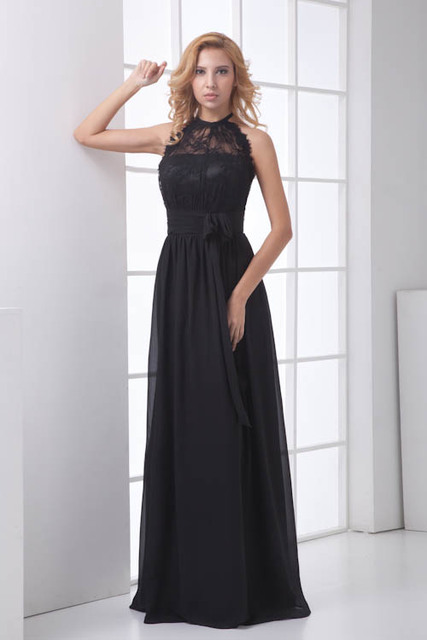 Elegant Halter Neck Lace Bridesmaid Dresses With Sashes Sexy Backless Wedding Guest Dress Robe Demoiselle D Honneur In Bridesmaid Dresses From