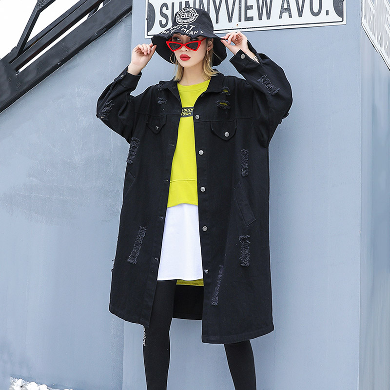 De 2019 Feminino Denim Mode Printemps Femmes Pour Casaco Trou Nouveau Noir Déchiré coat Black Trench Jeans Manteau Streetwear Long Surdimensionné dIz1Uxqwd