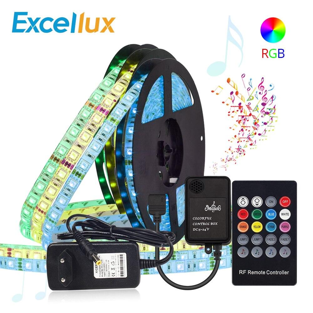 DC 12V 5050 Led Strip RGB Waterproof 5M 300Leds With Remote Controller TV Background Lighting Music Sensor Ribbon Led Strip Set