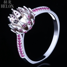 HELON 6-6.5mm Round Cut Rubies Semi Mount Engagement Ring Solid 14K (AU585) White Gold Trendy Fine Jewelry Flowers Gemstone Ring