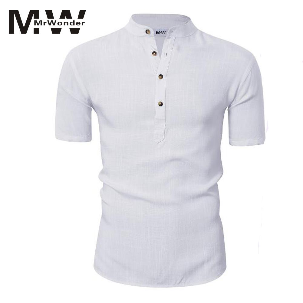 MrWonder Mens Casual Cambric Shirts Cotton n Lineb Henley Mens Summer Shirts Button Short Sleeve Slim Fit Shirt Tops SAN0