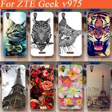 2015 NEW 15 patterns case for ZTE Geek V975 Cute cartoon beautiful flowers colored black white animals case cover for ZTE V975
