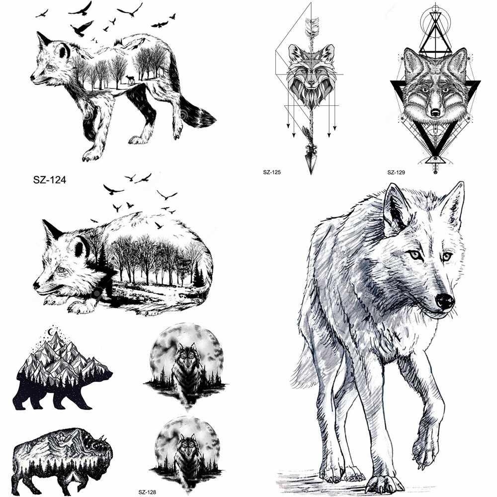 Yuran Pencil Sketch Temporary Tattoo Men Arm Tribe Wolf Tattoo Stickers Women Makeup Fox Water Transfer Tatoos Geometric Totem