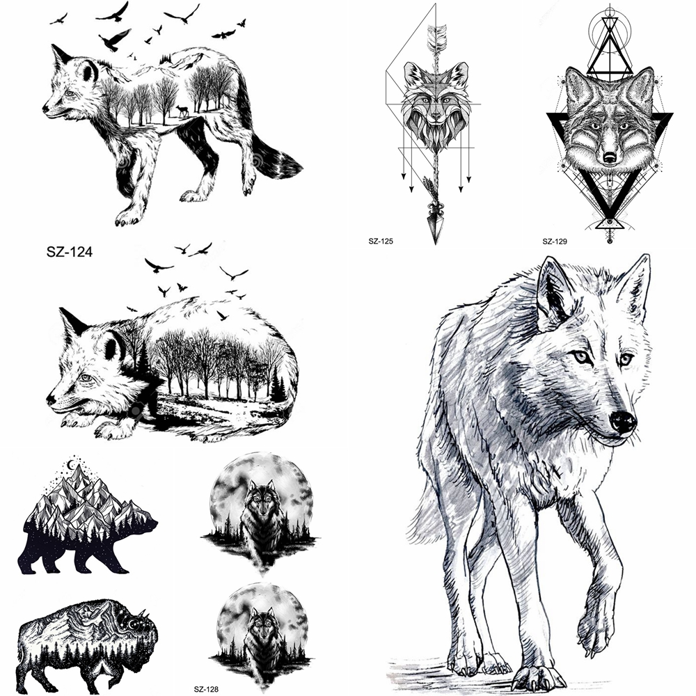 Yuran pencil sketch temporary tattoo men arm tribe wolf tattoo stickers women makeup fox water transfer tatoos geometric totem