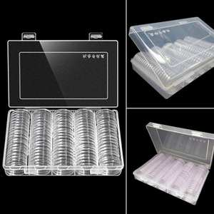 HOUSEEN 100Pcs Coin Cases Holder Clear Plastic Storage Box