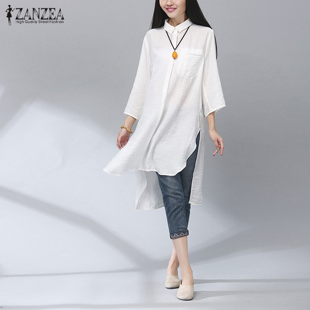 Autumn 2016 Elegant ZANZEA Women Retro Cotton Long Shirts Casual Loose 3/4 Sleeve Split Asymmetrical Long Blouses Tops Oversized