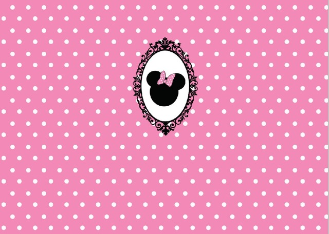 5x7FT White Pink Polka Dots Pattern Minnie Bow Baby Shower