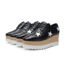 New Arrivals Women White Star Shoes Loose Bottom Shoes High Heels British Shoes High Platforms Fashion Women Casual Shoes