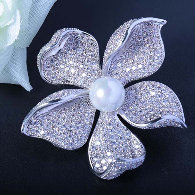 Red Trees High Quality Sparkly Flower Brooch For Women With Luxury Cubic Zircon And Shell Pearl Christmas Gift For Ladies-in Hair Jewelry,Brooches & Body Jewelry from Jewelry & Accessories