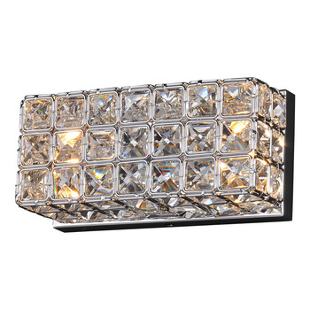 Modern Crystal Bedsides Wall Lamp Corridor Square Box Crystal Wall Lights Balcony Hallway Mirror Front Crystal Wall Sconces