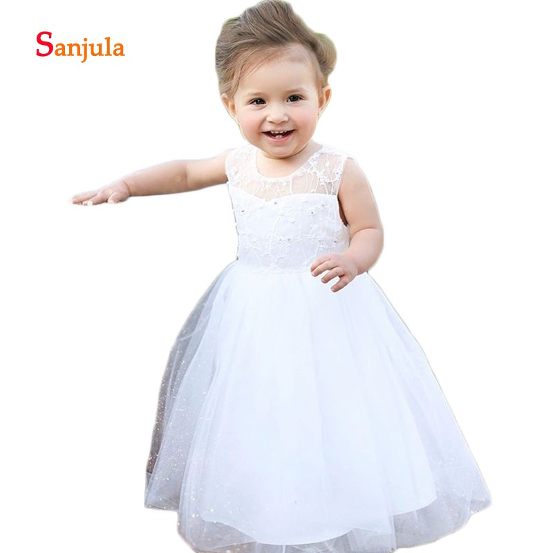 Lovely White Little   Girls     Dresses   See Though Lace   Flower     Girls     Dress   A-Line Wedding Party   Dress   for Children vestido flores D66