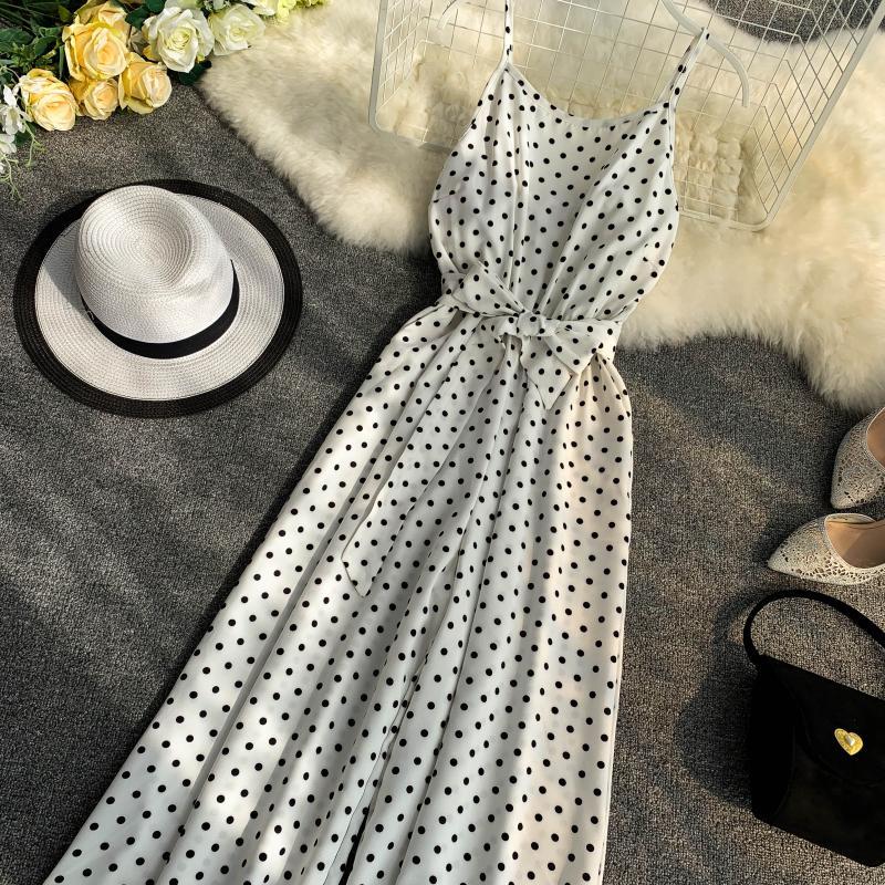Holiday Retro Dot Print V Collar Sleeveless High Waist Broad-legged Overalls Beach Rompers Womens Jumpsuit E521 13