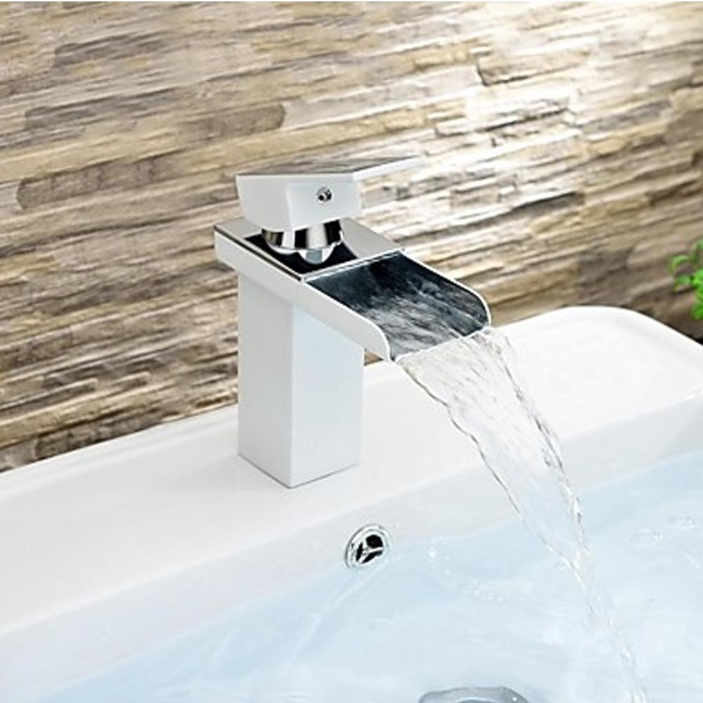 Aliexpress com   Buy New Water Faucets One Hole Single Handle Waterfall  Bathroom Sink Faucet Brass And Zinc Alloy Water Tap from Reliable faucet  extension. Aliexpress com   Buy New Water Faucets One Hole Single Handle