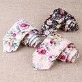 2017 Marca de Algodón Floral Corbata Gravatas Corbatas Lazos Para Los Hombres de Negocios de Traje De Boda Delgado Vestidos Pañuelo Corbata Accesorios