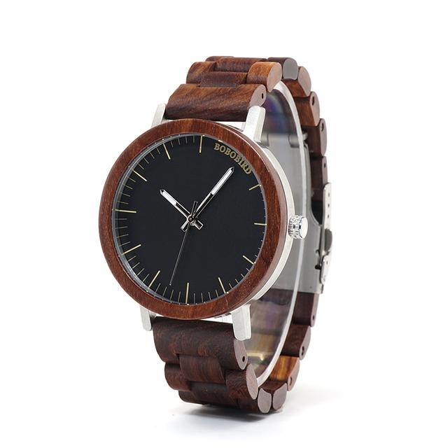 BOBO BIRD WM16 Brand Design Rose Wooden Watch for Men Cool Metal Case Wood Strap Quartz Watches Luxury Unisex Gift