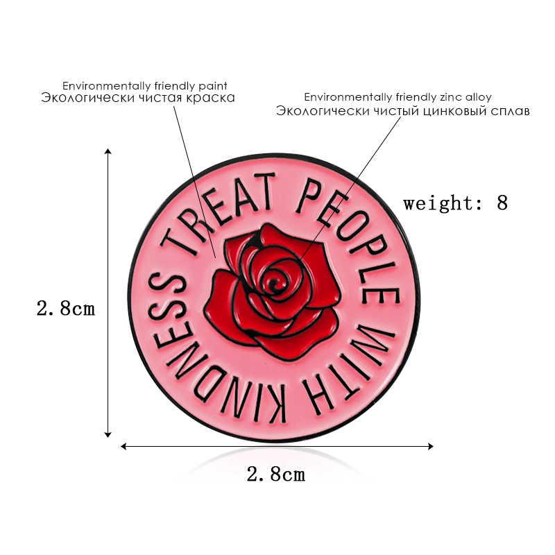 Rosa vermelha flor de personalidade rodada esmalte broche apropriado para o presente para os amigos da família amante roupas crachá mochila presente da jóia