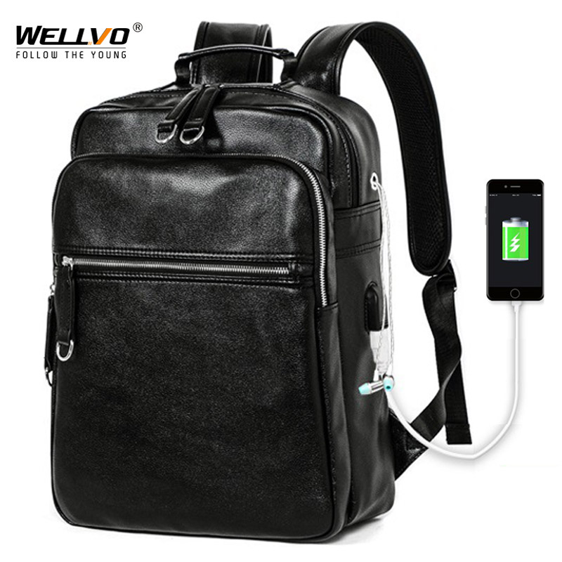Men Leather Backpack USB Charging Travel Rucksack School Book Bag for Male 14 inch Laptop Business mochila Shoulder Bags XA133WCMen Leather Backpack USB Charging Travel Rucksack School Book Bag for Male 14 inch Laptop Business mochila Shoulder Bags XA133WC